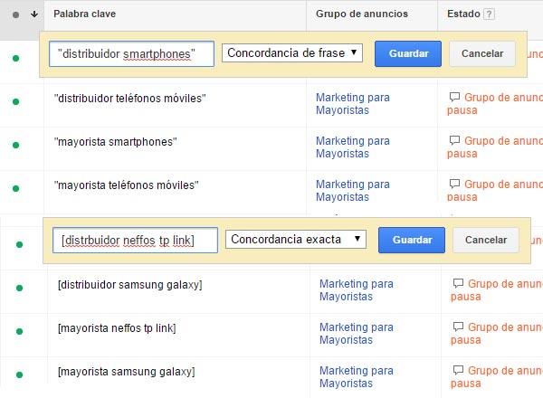 ejemplo sem google adwords mayorista